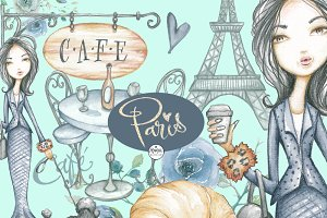 Paris Life clipart watercolor