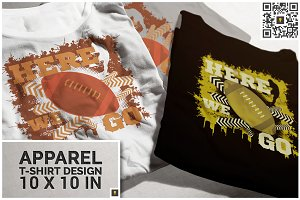 Here We Go Football Theme T-shirt
