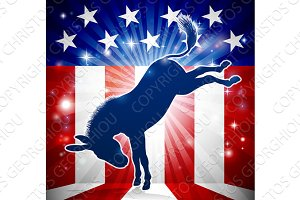 Donkey Democrat Political Mascot Kicking