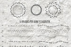 11 Brushes for Adobe Illustrator