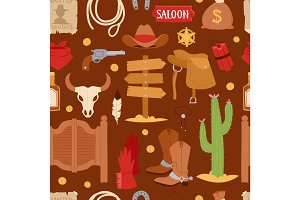 Wild west cartoon icons set cowboy rodeo equipment and different accessories vector illustration seamless pattern