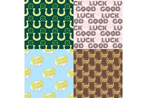 Good luck seamless pattern farewell vector lettering with lucky phrase background greeting typography.