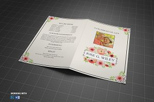 in loving memory funeral program brochure templates creative market