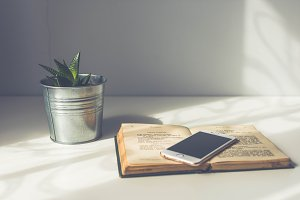 Smartphone on book