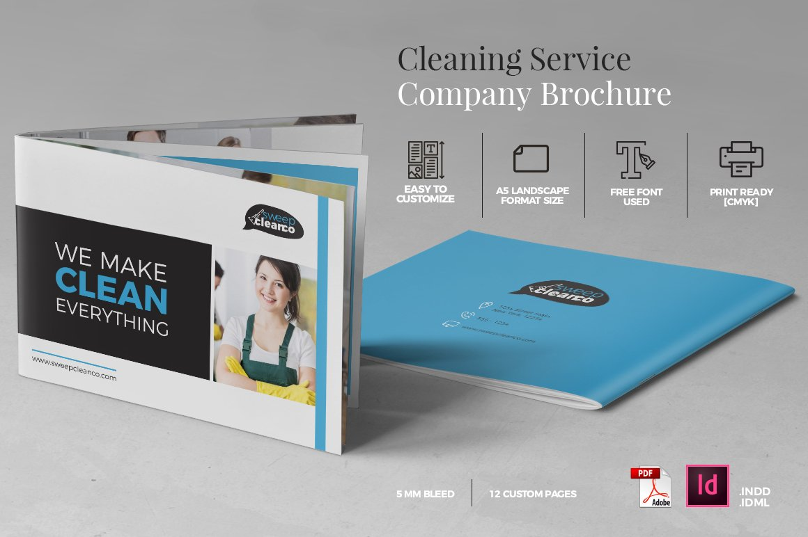 Cleaning service company brochure a5 brochure templates for Service design firms