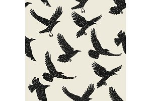 Seamless pattern with black flying ravens. Hand drawn inky birds