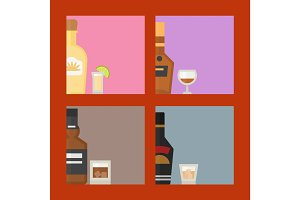 Alcohol drinks beverages cocktail card drink bottle lager refreshment container and menu drunk concept different bottle and glasses vector illustration.