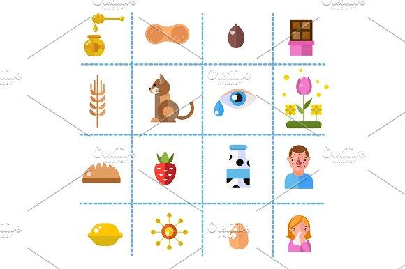 Allergy Symbols Disease Healthcare Tablets Viruses And Health Flat Label People With Illness Allergen Symptoms Disease Information Vector Illustration
