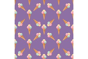 ice cream seamless pattern background fruit vector illustration