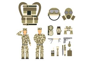 Military character weapon guns symbols armor man set forces design and american fighter ammunition navy camouflage sign vector illustration.