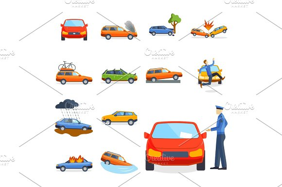 Car Crash Collision Traffic Insurance Safety Automobile Emergency Disaster And Emergency Disaster Speed Repair Transport Vector Illustration