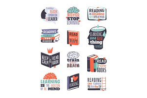 Reading motivation badge vector illustration.