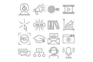 Vector illustration business webinar and online education outline internet trainings icons.