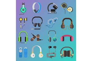 Vector headphone icons set on white background