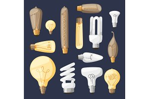 Cartoon lamps light bulb electricity design flat vector illustration set isolated electric icon object bright graphic symbol sign solution energy