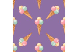 ice cream seamless pattern background dessert vector illustration food sweet cold isolated icon snack cone tasty fruit frozen candy wafer party