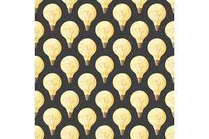 Cartoon lamps light bulb seamless pattern background design vector illustration electric icon object brainstorm symbol sign solution energy