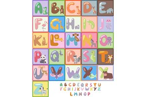 Cute zoo alphabet with cartoon animals isolated and funny letters wildlife learn typography cute language vector illustration.