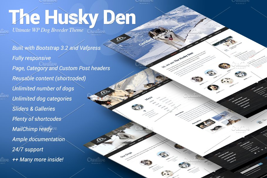 The Husky Den - WP dog breeder theme