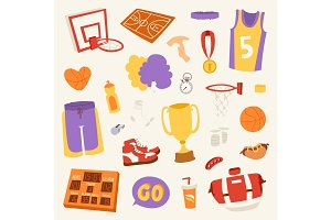 Basketball stickers vector icons