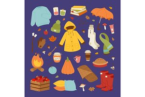 Autumn icons stickers hand drawn vector.