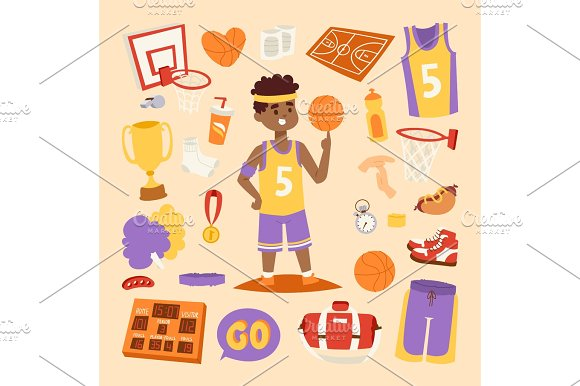 Basketball stickers vector icons character