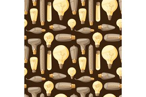 Cartoon lamps old retro light bulb seamless pattern background design vector illustration