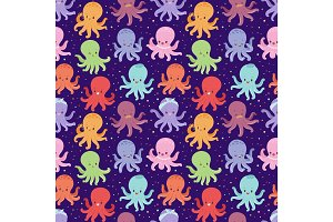 Illustration of cartoon octopus character vector seamless pattern