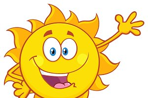 Smiling Sun Waving For Greeting