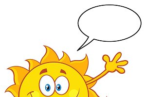 Happy Sun With Speech Bubble
