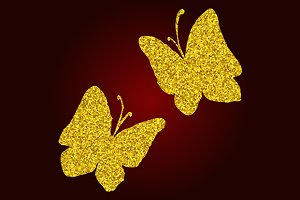 Golden glitter butterfly set vector