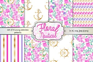 Floral nautical seamless pattern set