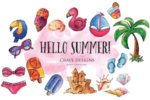 Hello Summer! Watercolor Clip Art