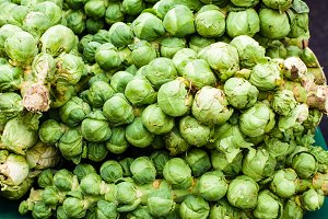 Green brussel sprouts at the market