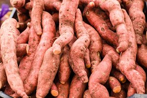 Fresh local sweet potatoes at the market