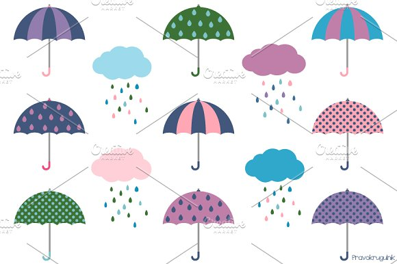 Umbrellas And Rainy Clouds Clipart