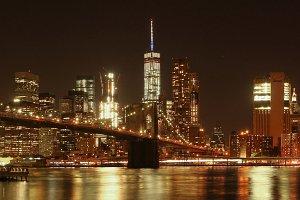 Brooklyn Bridge at Night panorama