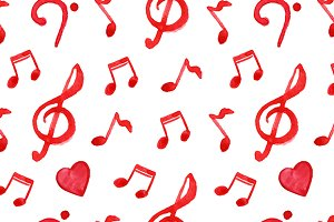 Love music seamless pattern vector