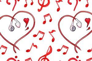 Love music seamless pattern vector