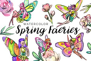 Watercolor Spring Faeries Clipart