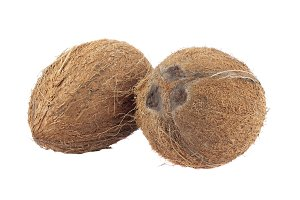 Two whole coconuts isolated on white