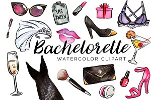 Watercolor Bachelorette Clipart Set