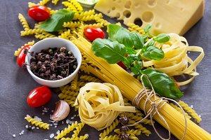 Various kinds of pasta ingredients