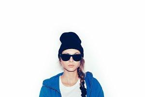 Hipster girl in blue hoodie
