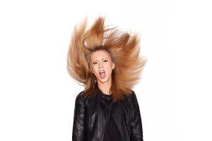 angry woman shaking her hair
