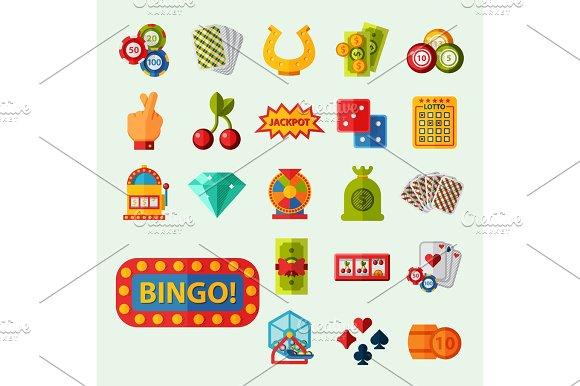 Casino Game Icons Poker Gambler Symbols Blackjack Winning Roulette Joker Slotbvector Illustration