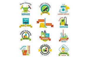 Set of cleaning service emblems labels design home household symbol work brush vector illustration.