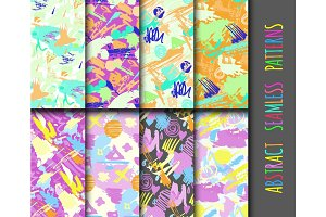 Creative universal different hand drawn seamless patterns endless texture abstract fills surface and colorful geometric ornaments vector illustration.