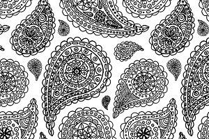 Paisley buta seamless pattern vector