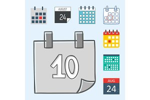 Vector calendar web icons office organizer business graphic paper plan appointment and pictogram reminder element for event meeting or deadline illustration.